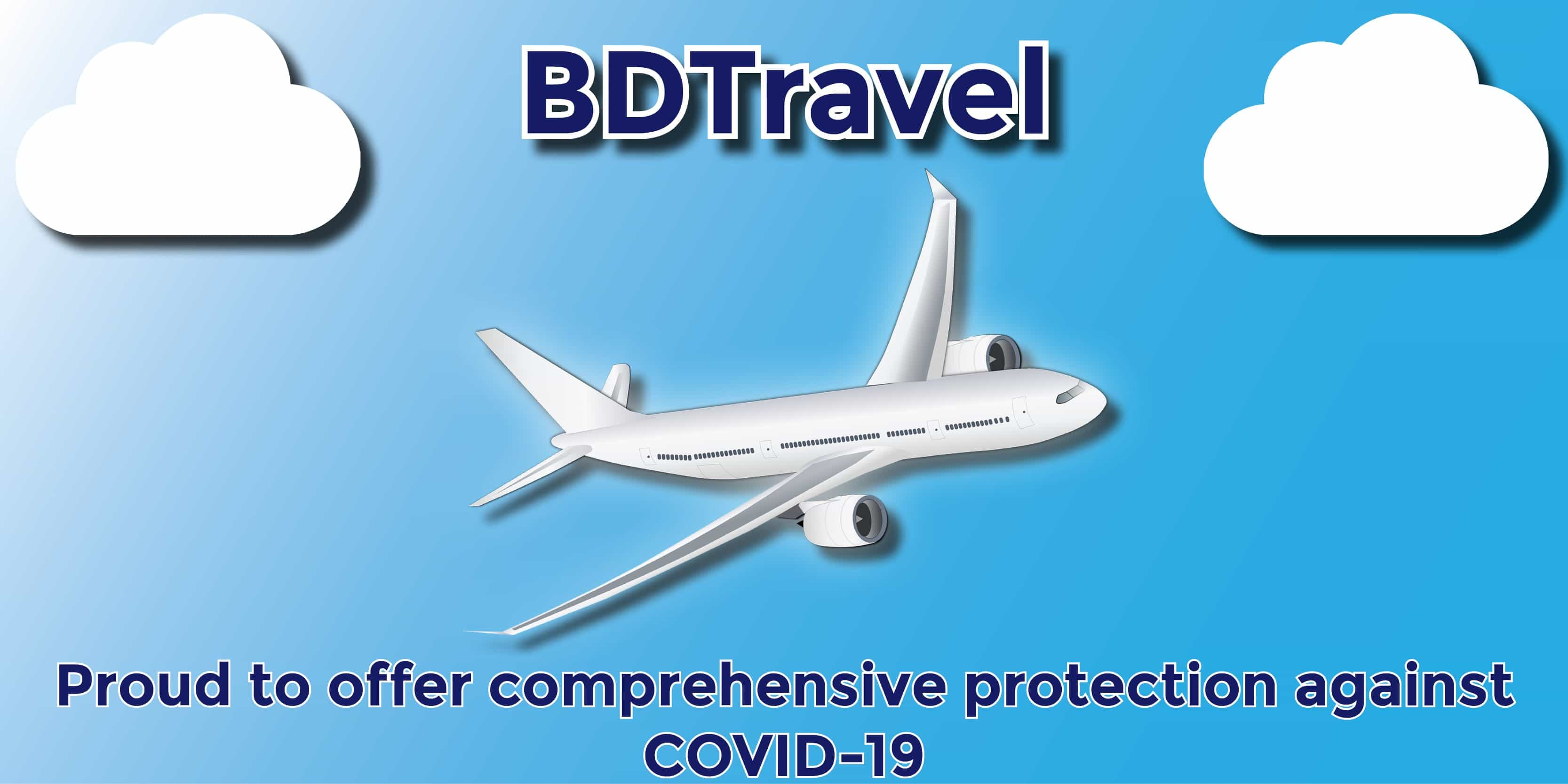 COVID Travel Insurance Advert Showing Plane flying between clouds on blue sky background